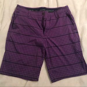 Purple & Black plaid Under Armour Shorts